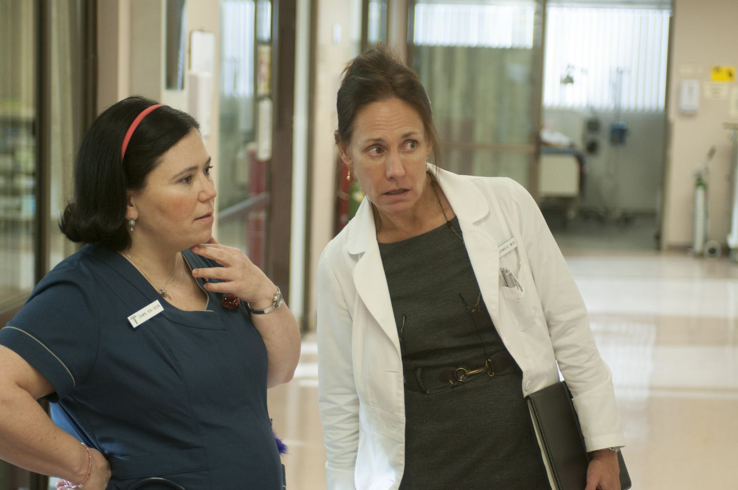 "Alex Borstein (left) and Laurie Metcalf in HBO's ""Getting On."""