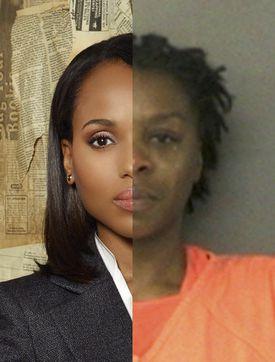 "Olivia Pope of ""Scandal"" (left) and Sandra Bland's arrest photo."