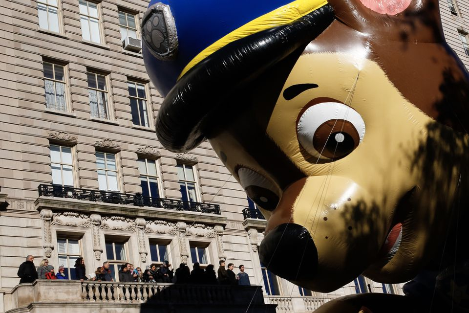 """A """"PAW Patrol"""" balloon floated over Central Park West during the 92nd annual Macy's Thanksgiving Day Parade."""
