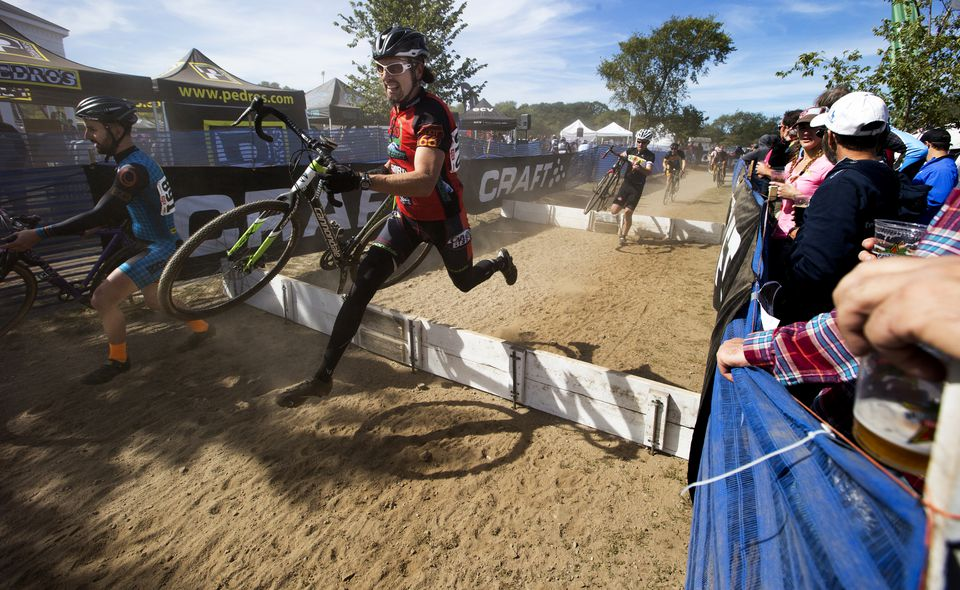 Racers had to negotiate obstacles during the recent Gloucester Gran Prix cyclo-cross event.