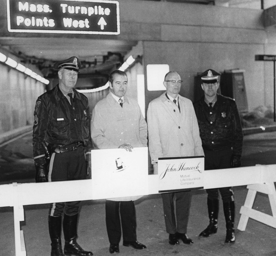 Mr. Driscoll, second from left, and others stood in front of a new turnpike ramp on Clarendon Street in Boston on Nov. 22, 1972.
