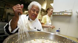 Leah Chase mixes her bread pudding at Muriel's restaurant in New Orleans.