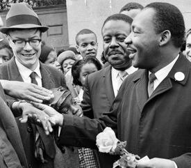 The Rev. Martin Luther King Jr. greeted supporters in April 1965 during a march to Boston Common. A memorial to the civil rights icon, who attended Boston University, could be placed on the Common or elsewhere in the city.