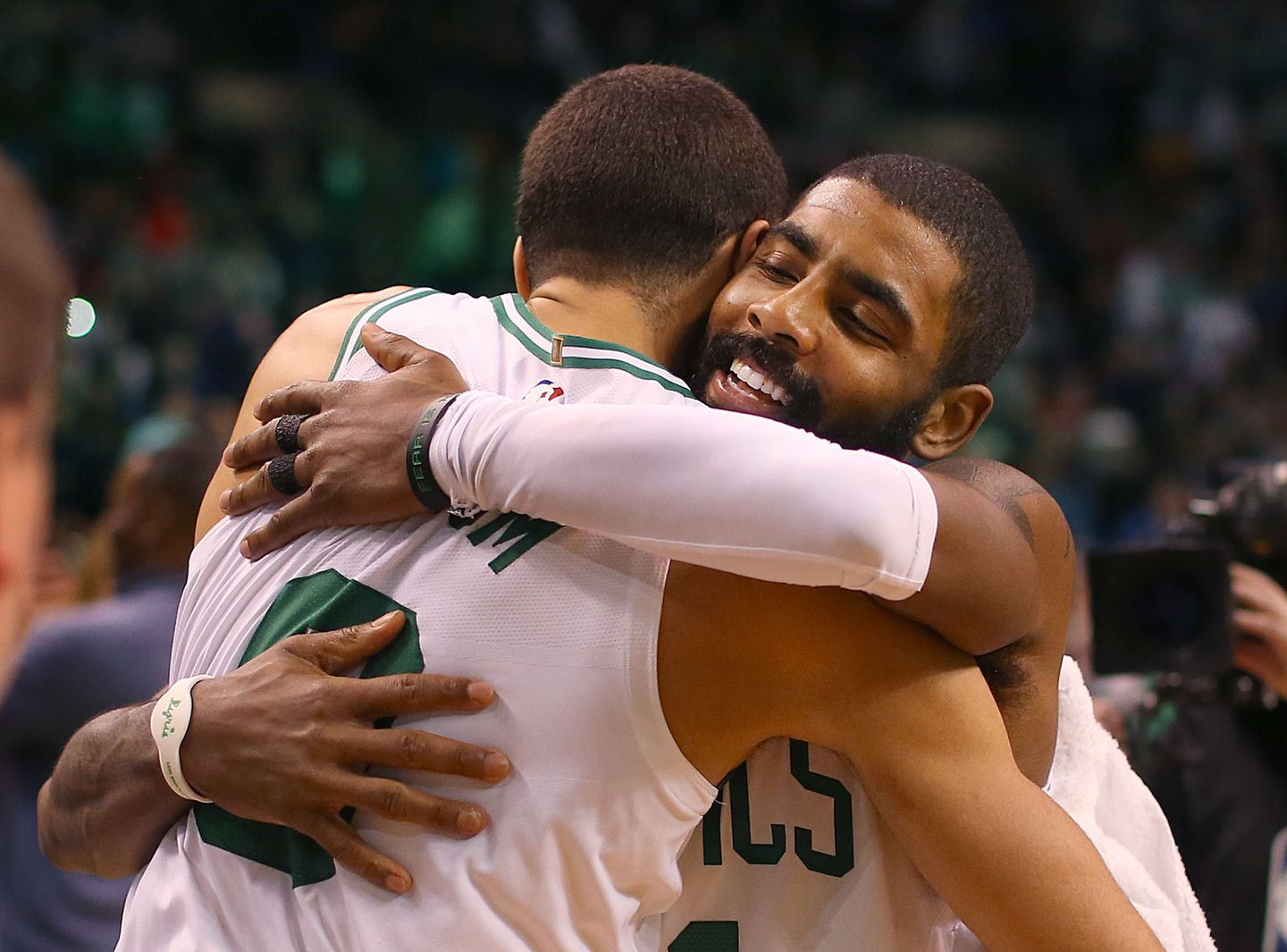 04e24a2d132a Kyrie Irving hugs Jayson Tatum at the end of a game in which the Celtics  staged