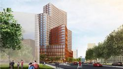 A rendering of the 25-story tower — mostly dorm space, with classrooms on the lower floors — that Northeastern would co-develop with private student housing builder American Campus Communities.