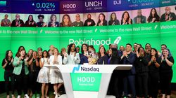 Baiju Bhatt and Vlad Tenev celebrated after ringing the bell on Robinhood markets IPO listing day on July 29 in New York City.