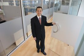 Larry Cai, head of New England business development for Qilu Pharmaceuticals, visited the company's new Innovation Center, which will be an incubator for startups.