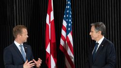 Danish Foreign Minister Jeppe Kofod (left) and US Secretary of State Antony Blinken held a joint press conference following meetings at the Danish Foreign Ministry in Copenhagen on Monday.