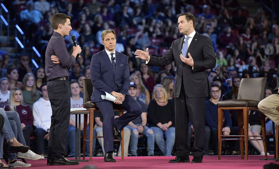 Cameron Kasky asks a question to Sen. Marco Rubio during a CNN town hall meeting.