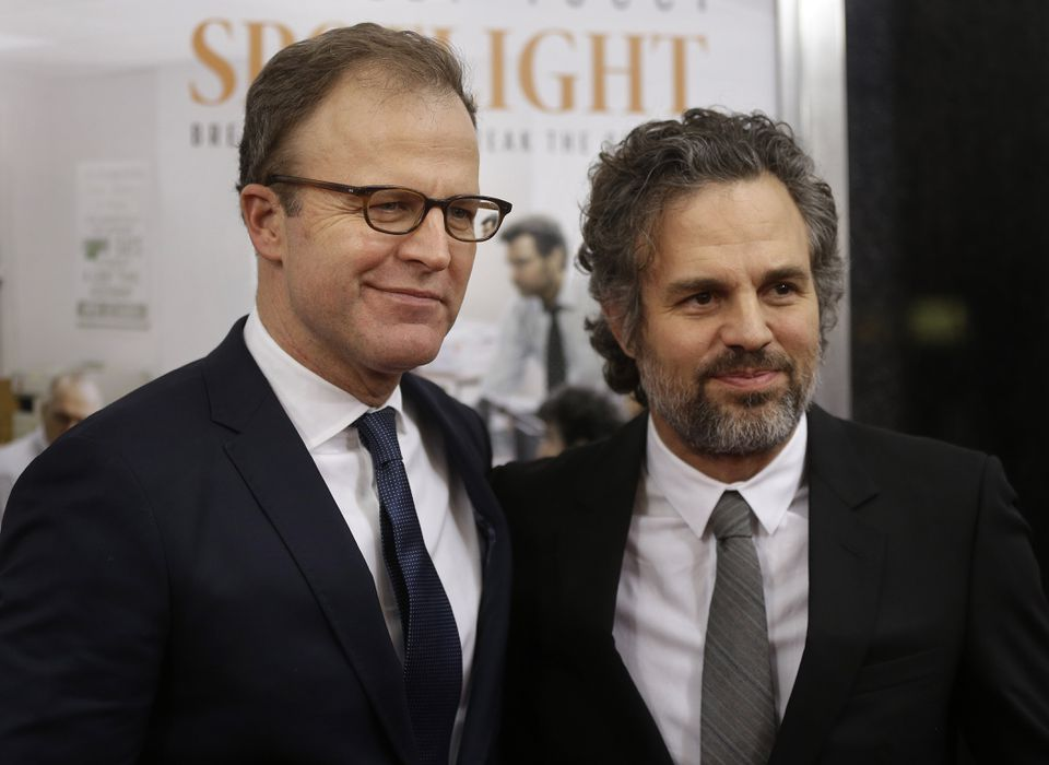 """Director and cowriter of """"Spotlight"""" Tom McCarthy (left) and actor Mark Ruffalo."""