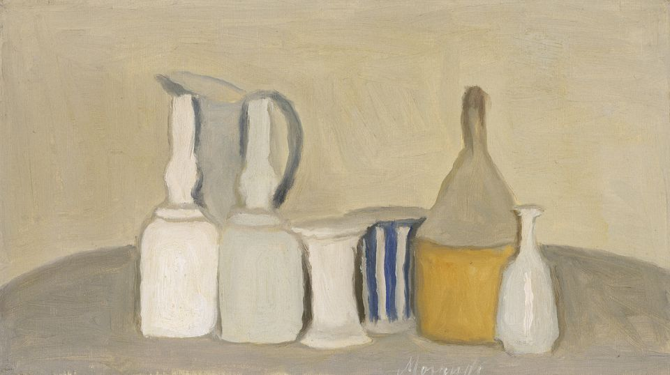 """Still Life of Bottles and Pitcher"" by Giorgio Morandi."