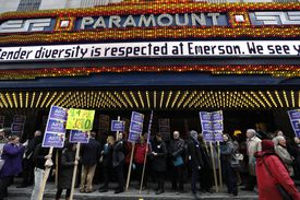 Advocates gathered at the Paramount Center before marching to the State House.