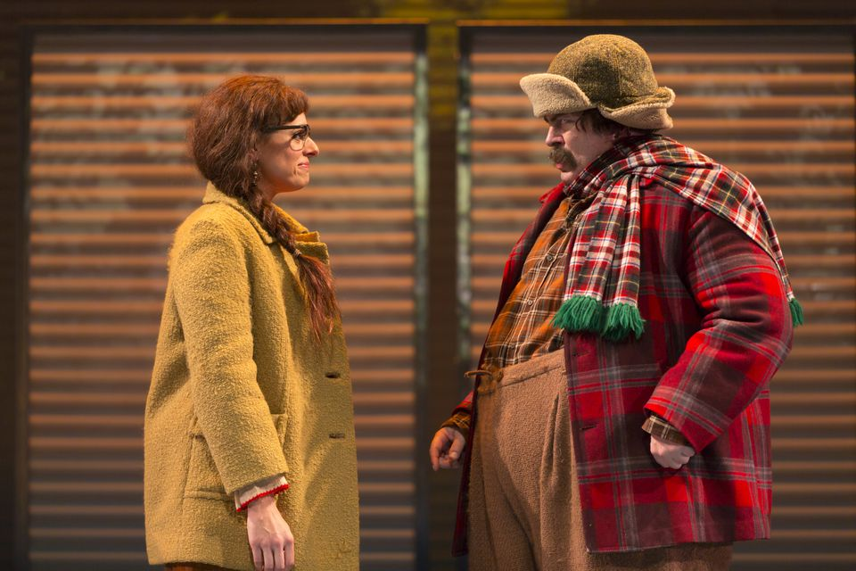 """Stephanie DiMaggio and Nick Offerman in """"A Confederacy of Dunces""""."""