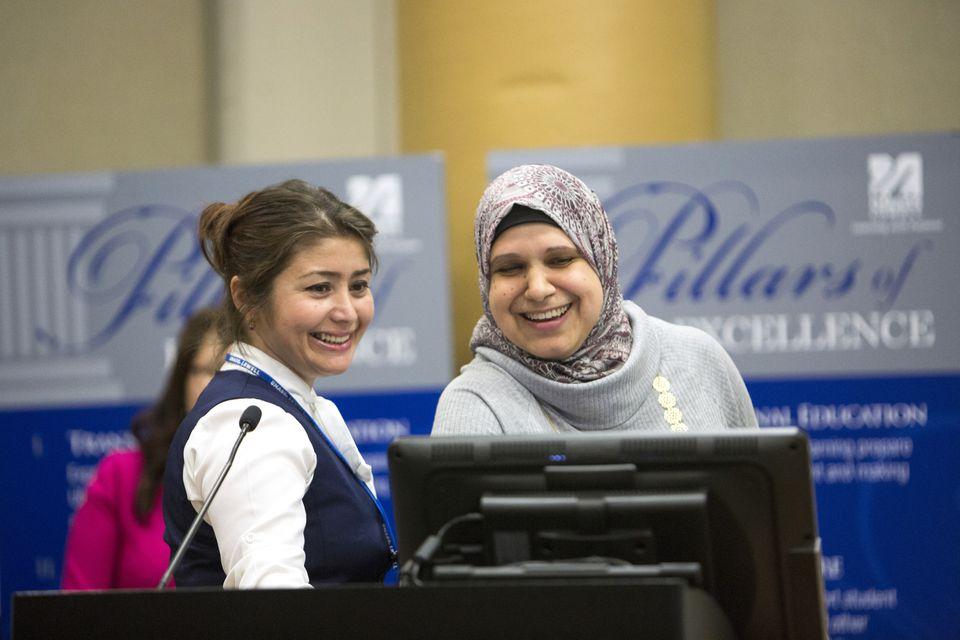 Feruza Erkulova of Uzbekistan (left) and Ghada Khader of Jordan were among the visitors.