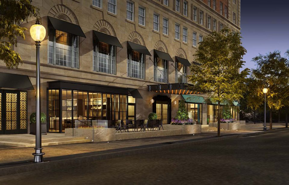 A rendering shows the Taj Hotel's planned new entrance on Newbury Street. The entrance is now on Arlington Street.