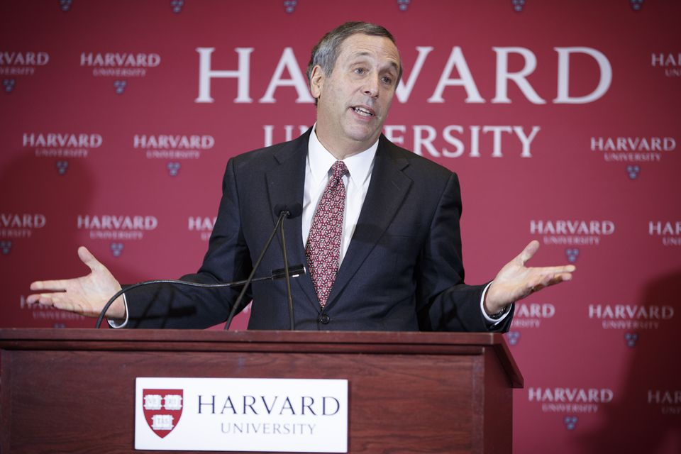 Lawrence Bacow spoke at a  press conference on Feb. 11, where Harvard University officials announced that he will becomes the university's 29th president, effective July 1.