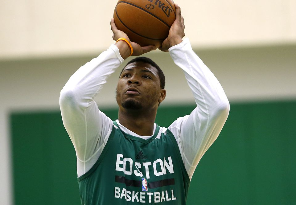 Marcus Smart was able to take some close-range shots during the team's shootaround on Friday morning.