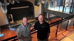 Brothers and co-owners Michael (left) and Peter Labrie inside Jimmy's Jazz & Blues Club, a space originally occupied by a YMCA, in Portsmouth, N.H. The venue will open at the end of September with two shows by jazz organist Joey DeFrancesco.