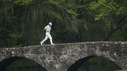 Hideki Matsuyama, here jogging across the Nelson Bridge on the 13th hole, tried to run away from the field with his 6-under 30 on the back nine Saturday.