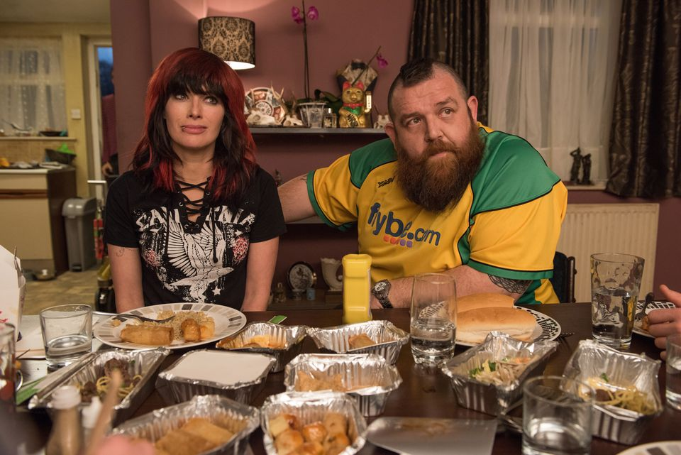 Lena Headey and Nick Frost as Julia and Ricky Knight.