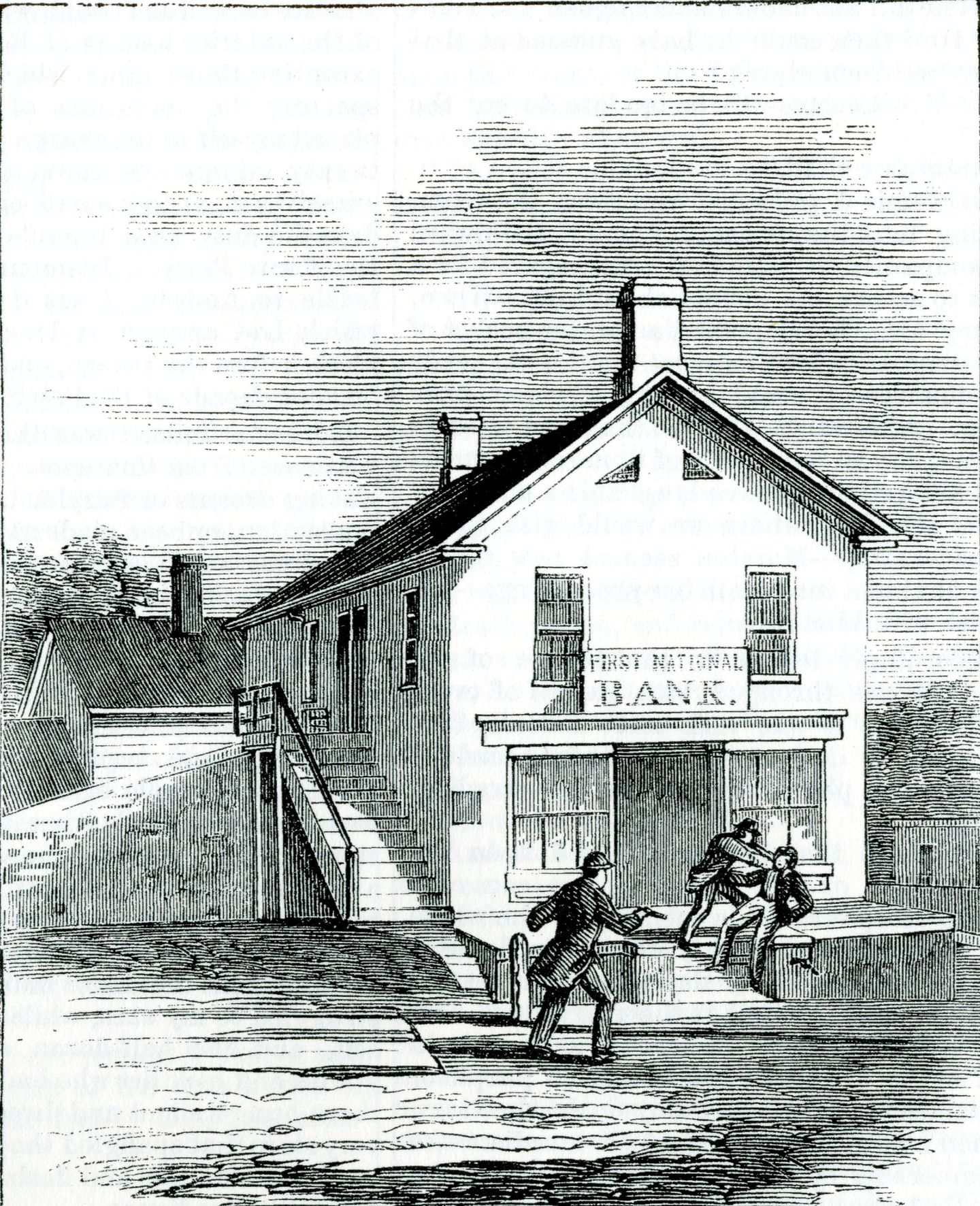 An old editorial illustration depicts William H.               Blaisdell of St. Albans accost a raider outside of the               First National Bank as another Confederate raced toward               them. Blaisdell, like others that day, was taken at               gunpoint into what today is Taylor Park. The First               National sat at the southeast corner of Main and Fairfield               streets, across the street from what is now Taylor Park.               CREDIT: VERMONT HISTORICAL SOCIETY (these images               originally appeared in Frank Leslie's magazine)