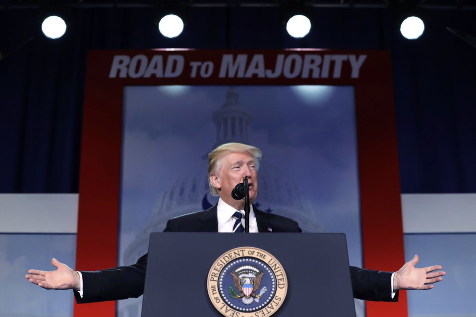 President Donald Trump spoke Thursday at the Faith and Freedom Coalition's annual conference.