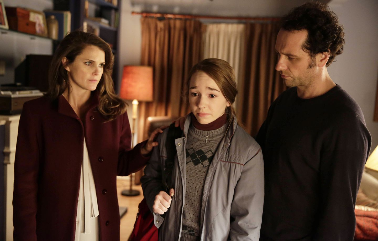 """From left, Keri Russell, Holly Taylor, and Matthew Rhys in FX's """"The Americans."""""""