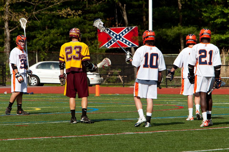 Walpole boys' lacrosse took on Weymouth in a 2010 match where the confederate flag could be seen.
