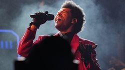 The Weeknd performs during the halftime show of the NFL Super Bowl 55 football game on Feb. 7, 2021, in Tampa, Fla.