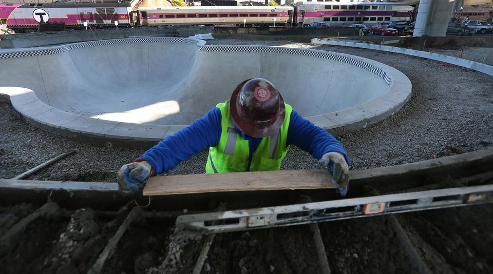 A worker was seen at the Lynch Family Skatepark.