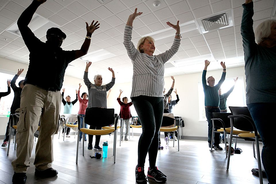 Salem residents, including baby boomers, exercised at the advanced fitness class at the Salem Community Life Center.