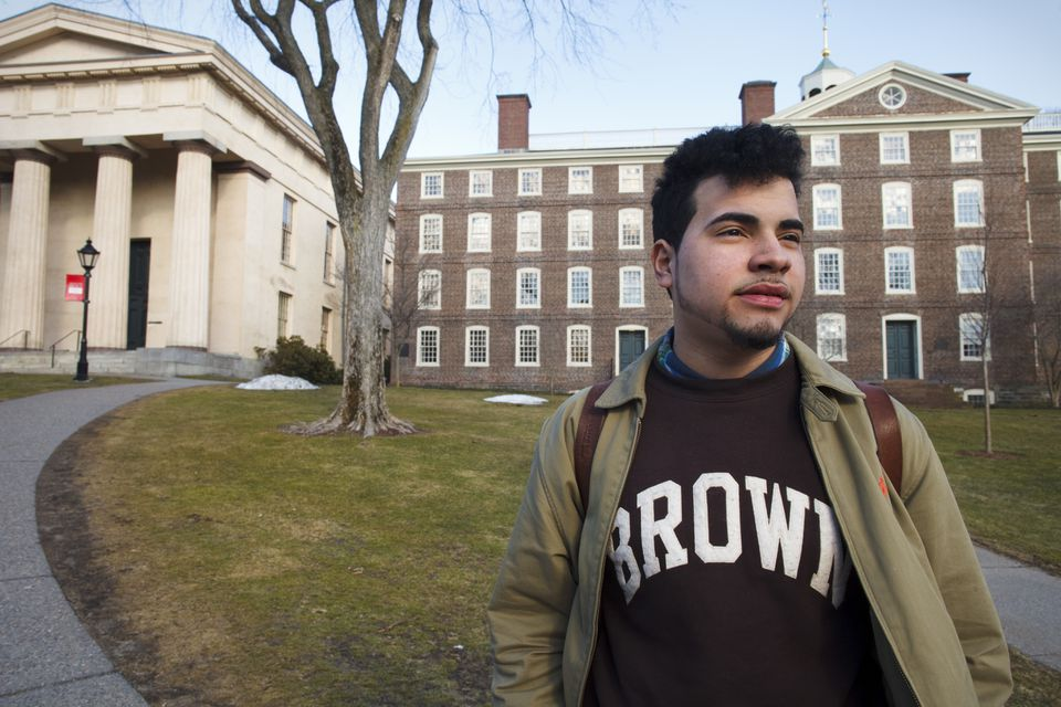 """Freshman Alejandro Claudio navigates a different world at Brown. """"If I fail, I'm going back to poverty, to working in a factory,"""" he says."""