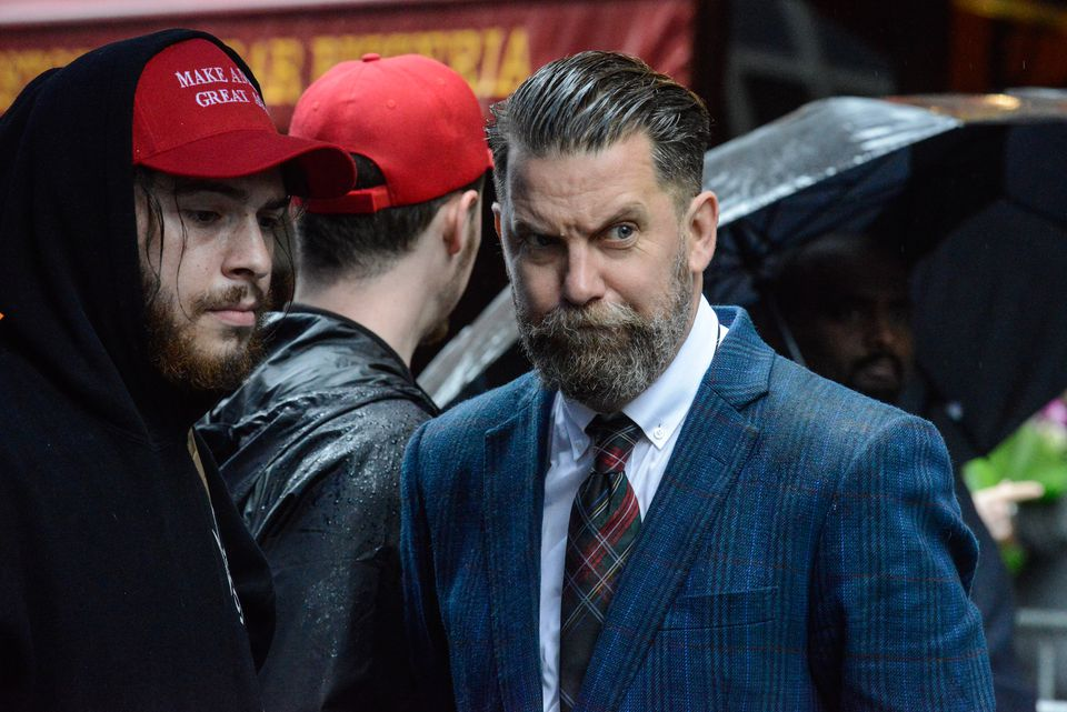 Gavin McInnes (center) was scheduled to speak at Saturday's planned free speech rally on Boston Common. On Monday, he said he wasn't coming.