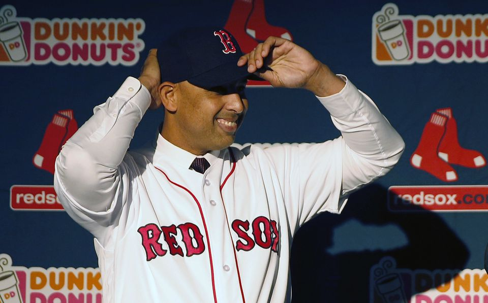 Alex Cora after becoming the Red Sox' new manager.
