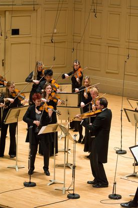 Aisslinn Nosky (left) and Max Mandel with the Handel and Haydn Society.