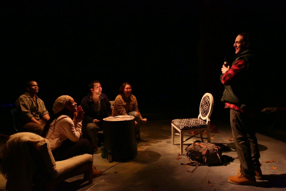"From left: Brandon G. Green, Lindsey McWhorter, Joseph Marrella, Jordan Clark, and Nael Nacer in Lyric Stage's ""Mr. Burns, a post-electric play.''"