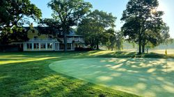The 18th green and the clubhouse at The Country Club in Brookline, which will host the 2022 US Open golf tournament.
