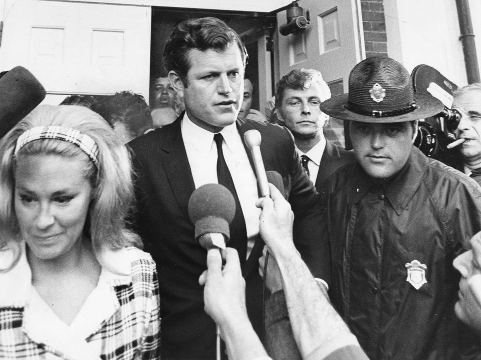 Sen. Edward M. Kennedy confronted a media circus after leaving the courthouse in Edgartown on July 25, 1969.