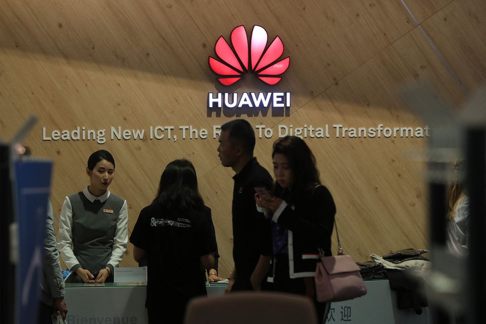 An information desk at the Huawei Technologies Co. exhibition stand at a tech fair in Germany last spring.