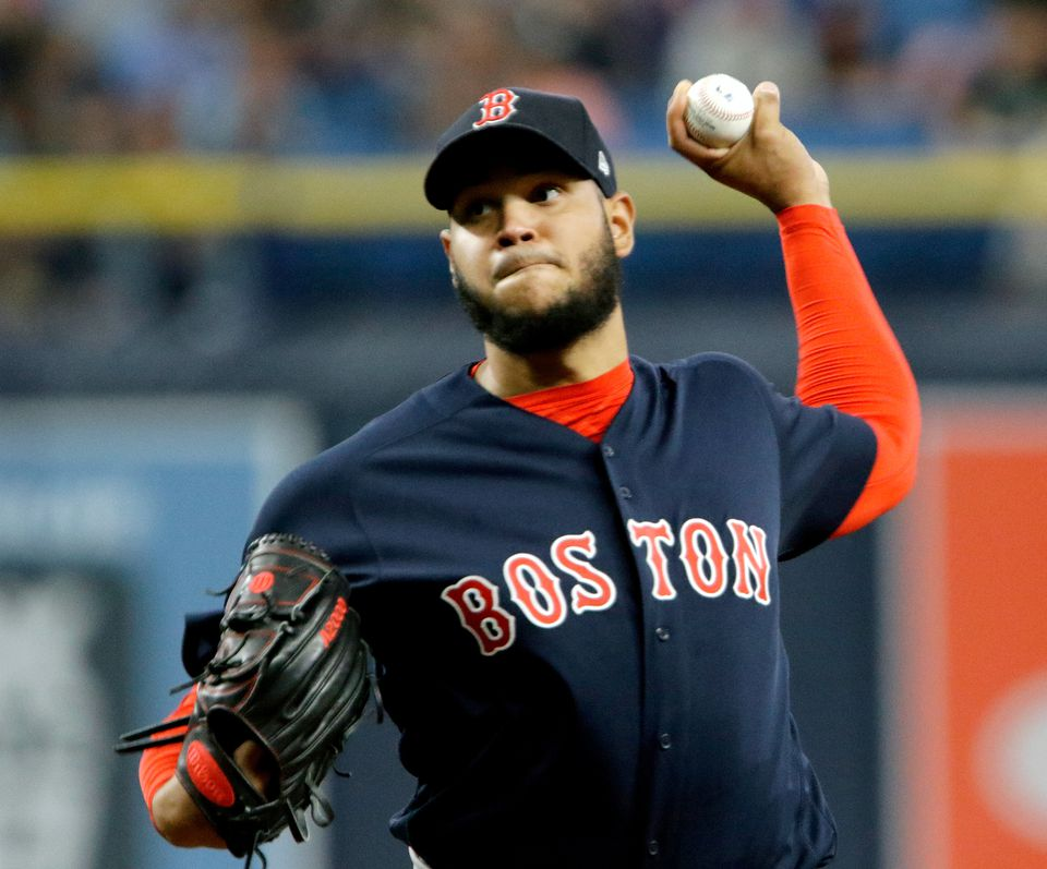 """Red Sox starter Eduardo Rodriguez delivers a pitch during his 5<span class=""""web_fractions"""">⅓</span>  innings of work."""
