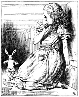 """An early illustration for Lewis Carroll's """"Alice in Winderland."""""""