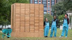 """Guides Tra Ha, 24, Tyreke Monterio, 27 and Gabby Preston, 23 serves as guides at the """"What Do We Have In Common"""" art installation on Boston Common by Janet Zweig on Sept. 30."""
