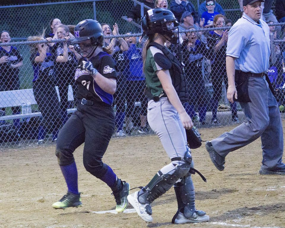 Norton's Stephanie Nosky (21) breaks a scoreless tie in the fourth after scoring on Nicole Granger's RBI double.