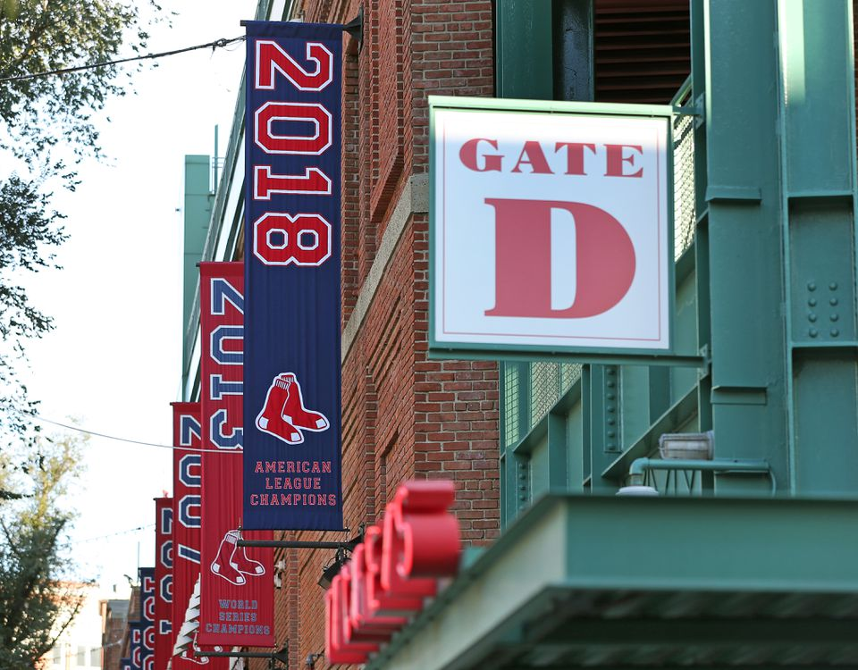 A new Red Sox American League Champions banner was put up at Fenway Friday.
