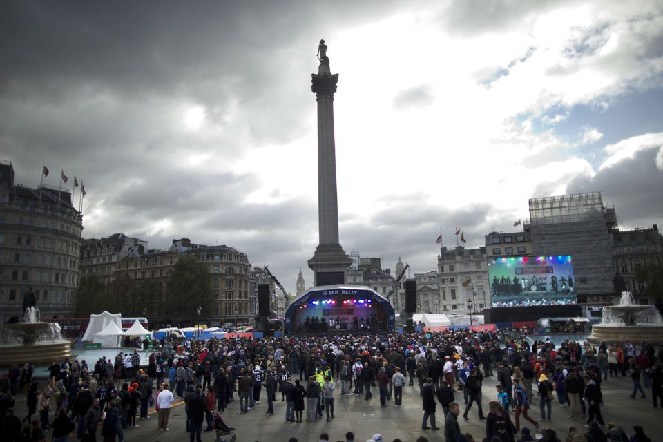 A fan rally for the NFL was held Saturday in London in Trafalgar Square, beneath Nelson's Column.