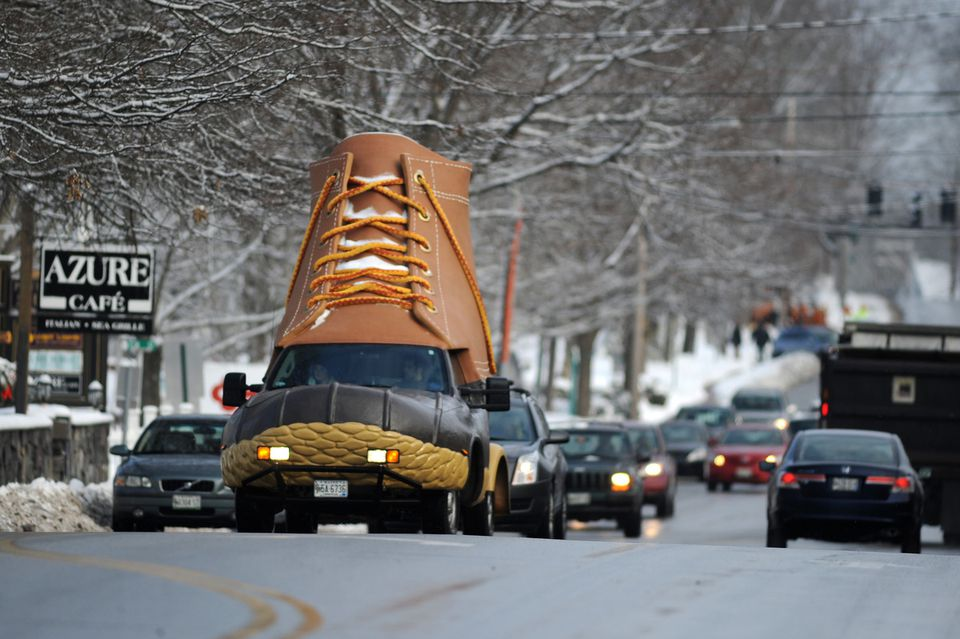 """The giant """"L.L.Bean Bootmobile'' made its way south on US Route 1 in Freeport, Maine, on its way to the L.L.Bean flagship store."""