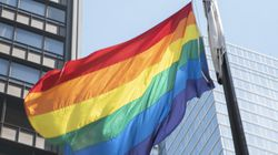 A flag is raised in Daley Plaza on June 1, 2021, to mark the beginning of Pride Month in Chicago.