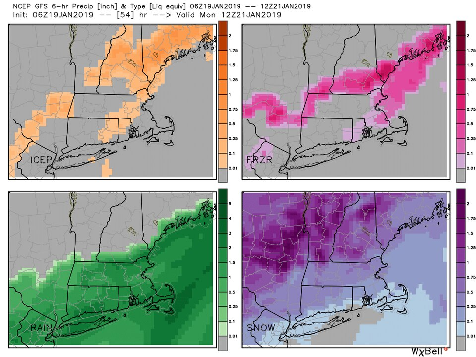 Some models are forecasting 4 types of precipitation around Boston in this storm.