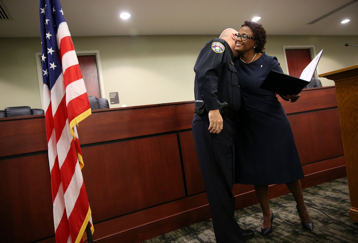 York Mayor Kim Bracey congratulated York police Officer Daniel Aikey after promoting him to lieutenant in a City Hall cermony on Oct. 25.