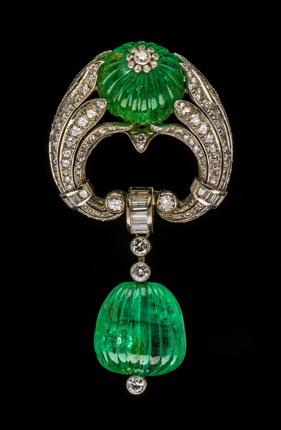 The emerald and diamond brooch that Bettina Burr's grandfather gave her grandmother on their 25th wedding anniversary.